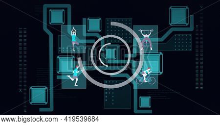 Animation of scopes scanning over people exercising on network of connections on black background. global technology and digital interface concept digitally generated image.