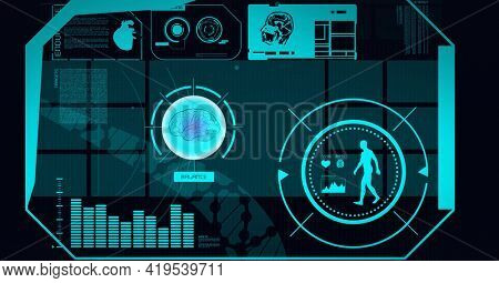 Animation of scopes scanning, human brain and model over screen on black background. global science, medicine, technology and digital interface concept digitally generated image.