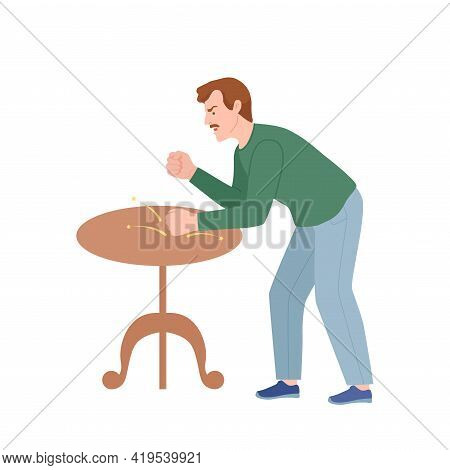 Frowning Man Quarrelling And Arguing With Someone Shouting And Banging The Table With Fist Vector Il