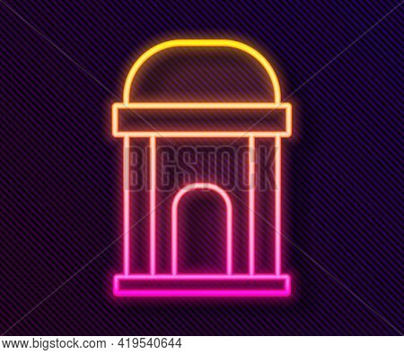 Glowing Neon Line Old Crypt Icon Isolated On Black Background. Cemetery Symbol. Ossuary Or Crypt For