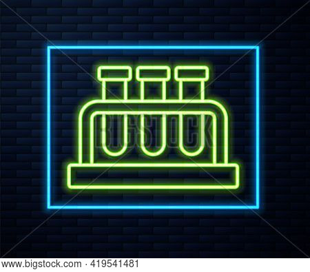 Glowing Neon Line Test Tube And Flask Chemical Laboratory Test Icon Isolated On Brick Wall Backgroun