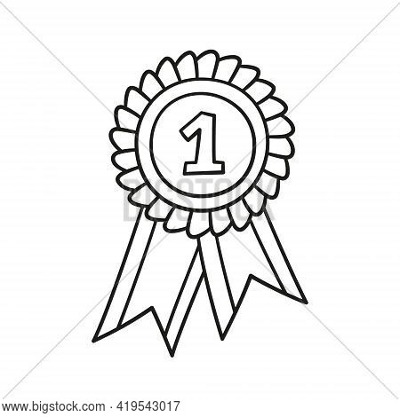 Award Rosette Doodle Icon. Hand Drawn Medal With First Place As Winner Concept. Vector Sketch Illust