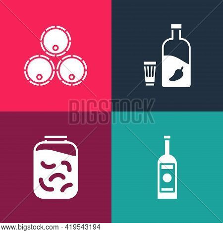 Set Pop Art Glass Bottle Of Vodka, Pickled Cucumbers In Jar, Vodka With Pepper And Glass And Wooden