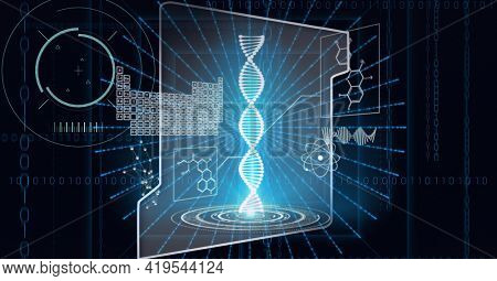Animation of scopes scanning, dna strand over screen and scientific data processing on black. global science, medicine, technology and digital interface concept digitally generated image.