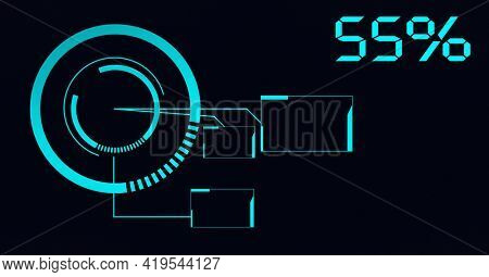 Animation of percent number and scope scanning on black background. global technology and digital interface concept digitally generated image.