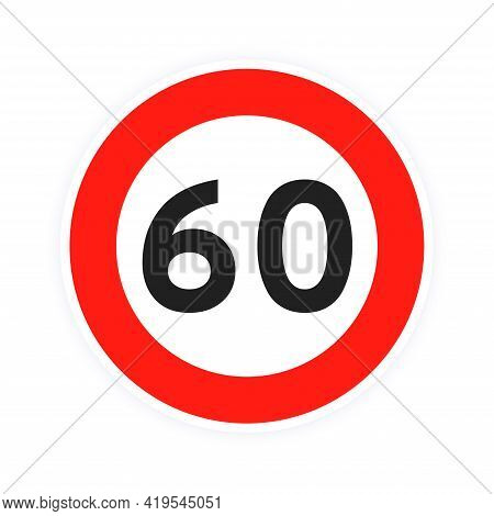 Speed Limit 60 Round Road Traffic Icon Sign Flat Style Design Vector Illustration Isolated On White