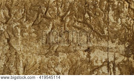 Decorative Stone Tiles With A Relief Texture Close-up, Design Sandy Color Material With A Pronounced
