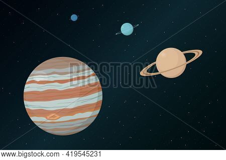 View Of Jupiter From Outer Space. Vector Illustration.
