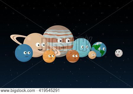 Pluto And Planets Of Solar System. Vector Illustration.
