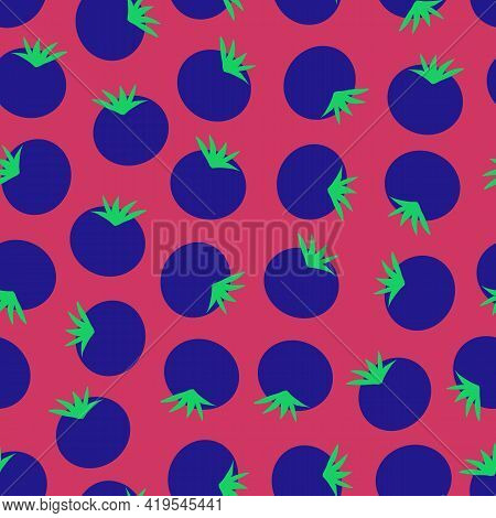 Blueberries Seamless Vector Background. Blueberry Repeating Pattern On Dark Pink. Hand Drawn Fruit S