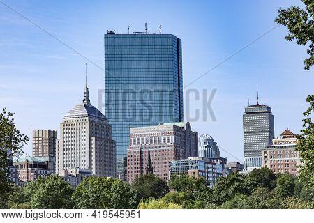 Skyline Of Boston Seen From Common Park