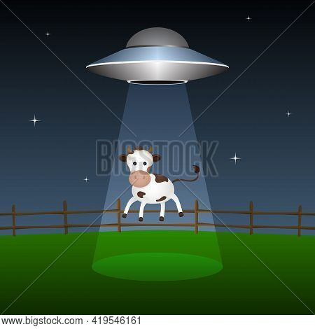 Ufo Abducts Cow From Corral At Night. Vector Illustration.