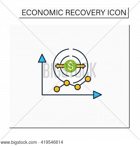 Economy Expansion Color Icon. Increase In Economic Level Activity.economical Fluctuation. Business C