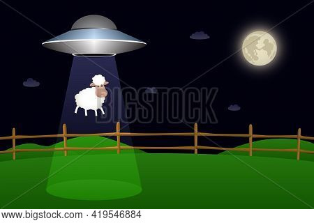 Flying Saucer Abducts Sheep From Corral At Night. Vector Illustration.