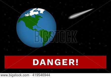 Planet Earth And Asteroid. Cosmic Catastrophe. Vector Illustration.