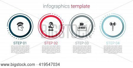 Set Greek Helmet, Ancient Bust Sculpture, Trireme And Medieval Axe. Business Infographic Template. V