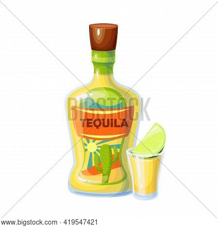 Tequila Bottle And Shot Glass With Slice Of Lime