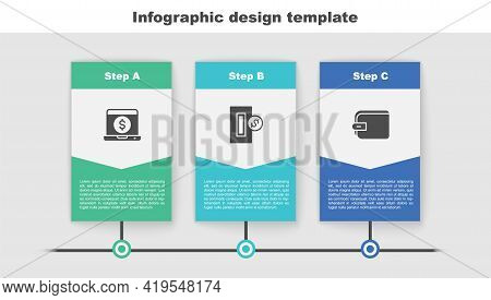 Set Laptop With Dollar, Inserting Coin And Wallet. Business Infographic Template. Vector