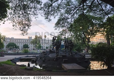 Cordoba, Argentina - January, 2020: Back View Of Malvinas Heroes Memorial - Monument To Heroes Of Wa