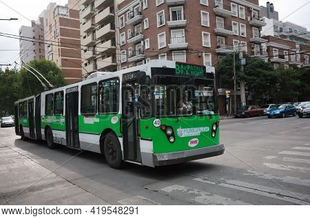 Cordoba, Argentina - January, 2020: Public Electrical Transport In Argentina - Green Articulated Piv
