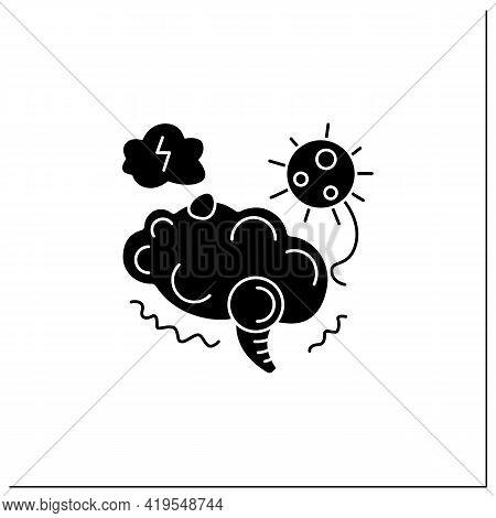 Neurological Disorder Glyph Icon.covid Caused Post-traumatic Stress Syndrome.corona Virus Brain Heal