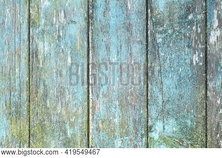 Wooden Planks Background With Teal Blue And Yellow Colored Old Weathered Planks With Chipped Paint