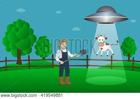 Flying Saucer Abducts Cow. Cartoon Style. Vector Illustration.