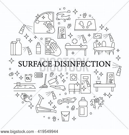 Surface Disinfection Circle Poster. Home, Public Areas, Transport Hygiene, Covid Pandemic Preventive