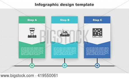 Set Train Conductor, Plate With Food And Railway Map. Business Infographic Template. Vector