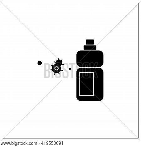 Sanitizer Bottle Glyph Icon.disinfectant Liquid Clean Label Mockup Bottle. Disinfection, Hygiene And