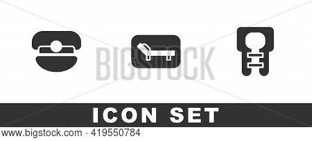 Set Captain Hat, Sunbed And Umbrella And Life Jacket Icon. Vector