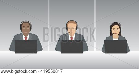 Multiethnic Group Of Support Officers. Vector Illustration.