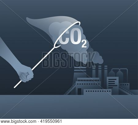 Carbon Dioxide Capture Technology - Net Co2 Footprint Development Strategy. Vector Illustration With