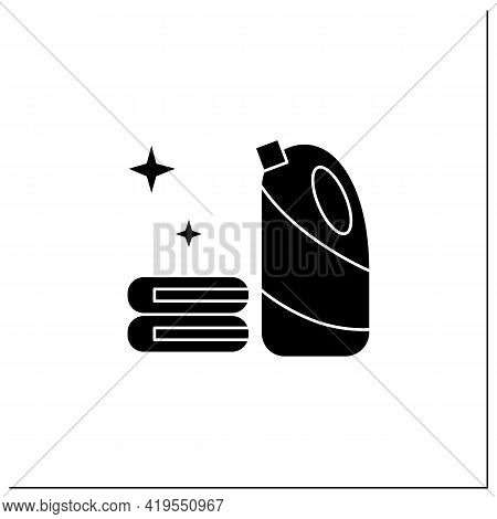 Bleach Glyph Icon.household Chemical Bottle With Laundry Pile.clothes Washing, Disinfection, House C