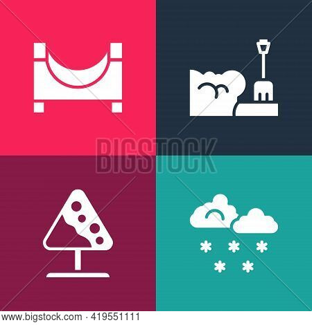 Set Pop Art Cloud With Snow, Road Sign Avalanches, Shovel In Snowdrift And Skate Park Icon. Vector