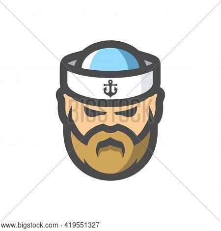 Sailor Man In A Cap Vector Cartoon Icon Illustration.