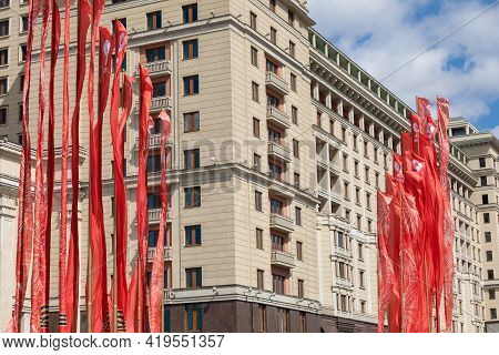 May 5, 2021, Russia, Moscow. Festive Decoration With The Red Flags Of The City For The Victory Parad