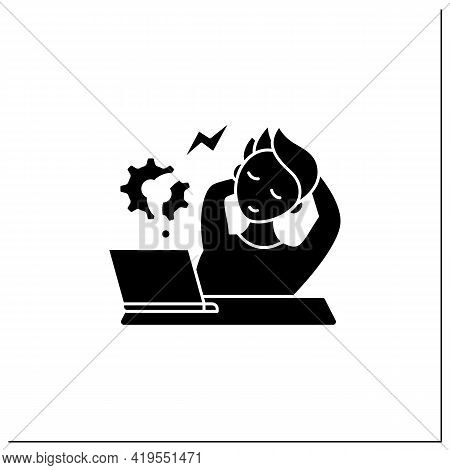 Workaholic Glyph Icon. Counterproductive Behaviour. Rest On Workplace. Man Relax, Dont Think About W