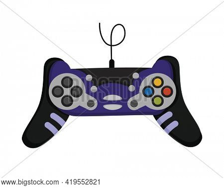 Joystick. Cartoon video game console. Entertainment play technology. Gamepad  icon. Game-play console isolated on white background