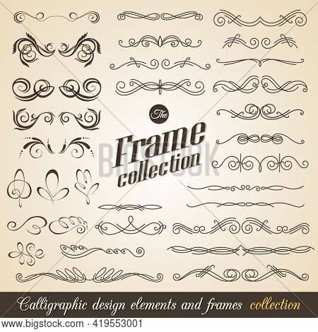 Calligraphic design elements. Elegant collection of hand drawn swirls for your design. Page decorations. Swirl, scroll and flourishes dividers. Set of text delimiters. Premium quality