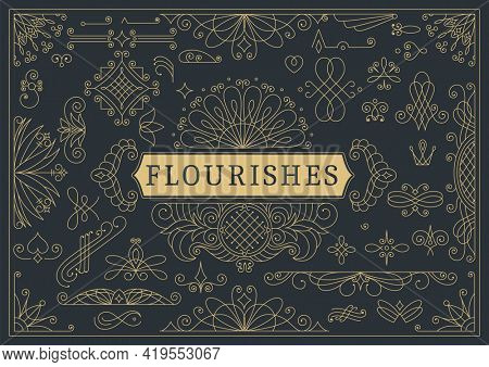 Flourishes calligraphic vintage ornamental background. Golden ornate page with swirls and vignettes elements. Frame design template.  restaurant menu or royalty certificate