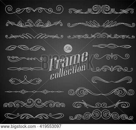 Calligraphic design elements on chalkboard background. Elegant collection of hand drawn swirls for your design. Page decorations. Swirl, scroll and flourishes dividers. Set of text delimiters