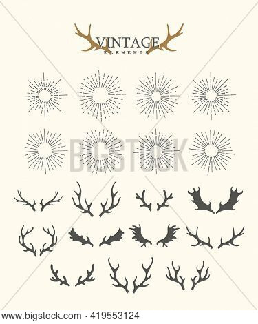 Antlers. Design elements of deer and collection of sunbeams. Set of hand drawn deer horns on the white background. Vintage isolated icons
