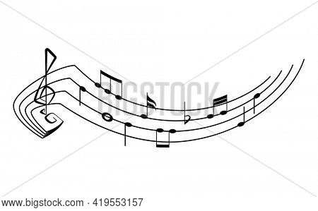 Music notes on staves. Music staff black notes symbols in rounded corners style. Abstract row of musical notes and chords collection.  musical notation