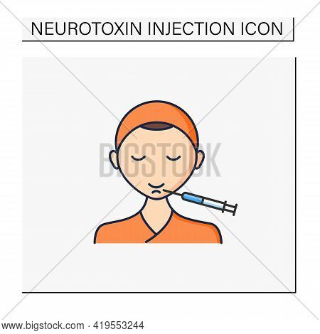 Cosmetic Injection Color Icon.injection In Chin. Lifting.rejuvenation. Full Syringe. Beauty Cosmetic