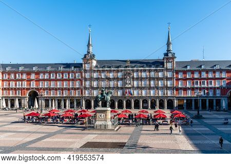 Madrid, Spain - April, 18 2021: Coins And Stamps Collectors Market In Plaza Mayor Square In Madrid.