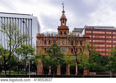 Madrid, Spain - May 1, 2021: Neo-mudejar Facade Of Abc Serrano Shopping Center In Salamanca District