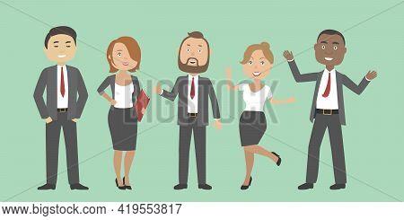 Multiethnic Group Of Office People. Vector Illustration.