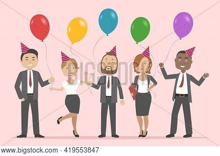 Multiethnic Group Of People Celebrating Birthday. Vector Illustration.
