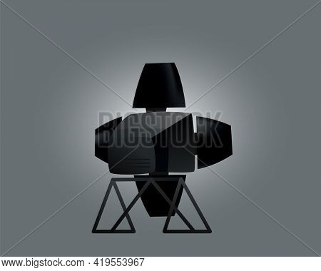 Realistic spotlights with gray background for show contest or interview  illustration. Photography studio. Illuminated effect form projector, projector for studio illumination